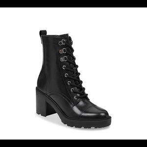 Marc Fisher Lanie black midi combat boots